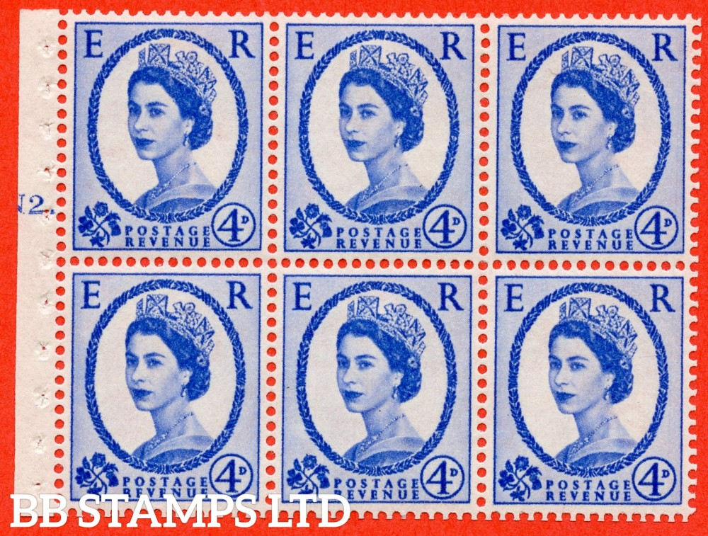 "SG. 576a. SB105. 4d Deep Ultramarine. A fine mounted mint cylinder "" N2 T dot "" booklet pane of 6. Perf type (Ieb) with TRIMMED PERFS. Smooth edge. White paper"
