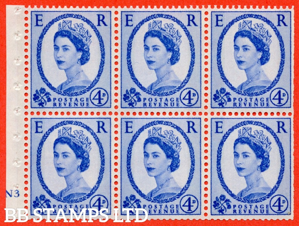 "SG. 616a. SB109c. 4d Deep Ultramarine. A fine UNMOUNTED MINT cylinder "" N3 no dot "" booklet pane of 6. Perf type (I) with TRIMMED PERFS. Smooth edge. White Paper. With listed variety "" Y Flaw "" Row 2/2."