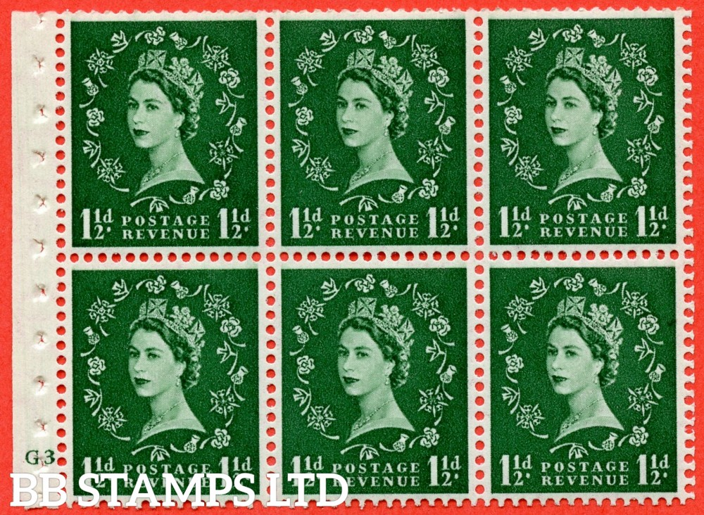"SG. 517. SB59. 1½d green. A fine UNMOUNTED MINT cylinder "" G3 dot "" booklet pane of 6. Perf type (Ieb) with GOOD PERFS. Smooth edge."