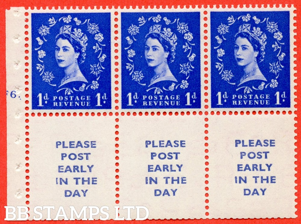 "SG. 516. SB24. 1d ultramarine. A fine mounted mint cylinder "" F6 dot "" booklet pane of 6. Perf type (Iet) with TRIMMED PERFS. Smooth edge."