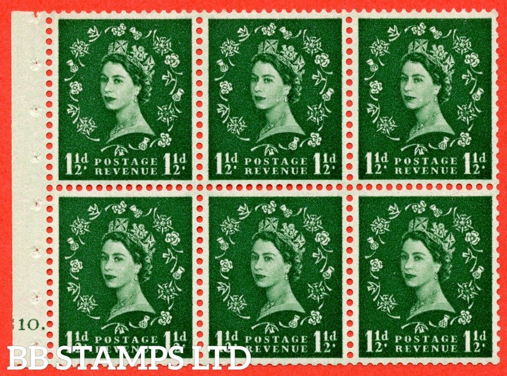 "SG. 542. SB62. 1½d green. A fine mounted mint cylinder "" G10 dot "" booklet pane of 6. Perf type (Ieb) with TRIMMED PERFS. Smooth edge."