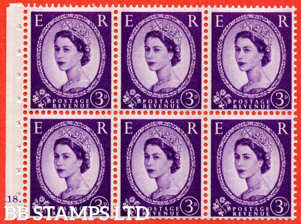 "SG. 615. SB99. 3d Deep Lilac. A fine UNMOUNTED MINT cylinder "" K18 dot "" booklet pane of 6. Perf type (Iet) with TRIMMED PERFS. Smooth edge. Cream Paper."