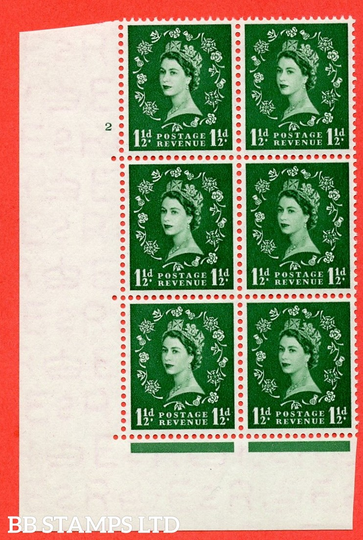 "SG. 517. S25. 1½d Green. A superb mounted mint. "" cylinder 2 no dot "" control block of 6 with perf type A E/I."
