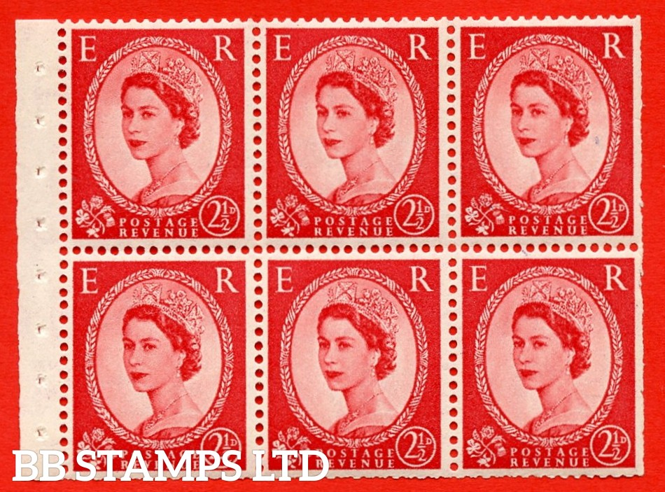 SG. 519 b. SB80. 2½d carmine - red. A fine UNMOUNTED MINT. Complete booklet pane of 6. Perf type (IR) with Trimmed PERFS.