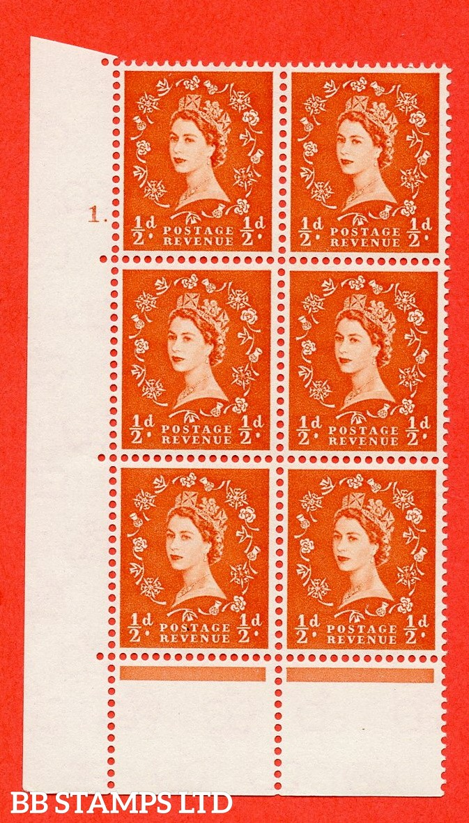 "SG. 570. S4. ½d Orange. A superb UNMOUNTED MINT "" cylinder 1 dot "" control block of 6 with perf type C E/P. CREAM paper."