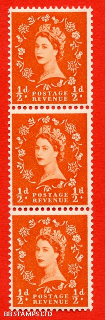 "SG. 540. S2h. ½d. Orange-red. A fine UNMOUNTED MINT example. Vertical Coil strip of 3. With a Spot on ""d"" ERROR Roll 5 variety."
