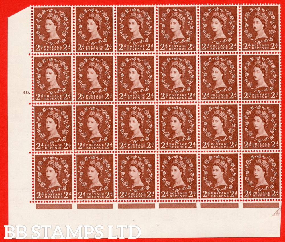 SG. 573. S40d. 2d light red brown . A superb MOUNTED MINT example. Bolck of 24 from cylinder 30 dot. Cream paper. With a Tadpole retouch ERROR. R.17/6.
