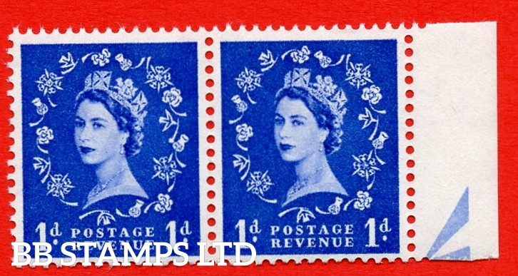 SG. 571. S16. 1d Ultramarine. A superb UNMOUNTED MINT example. Right marginal positional pair. Cream paper. With a Daffodil flaw ERROR. R.10/11 variety.