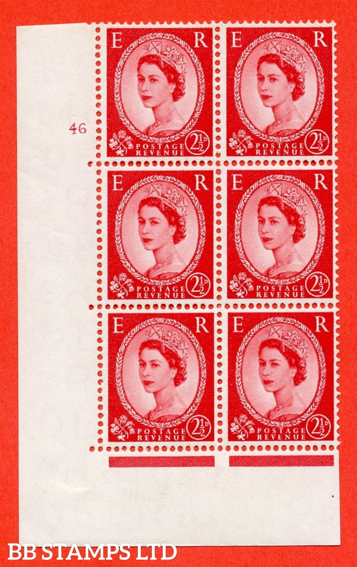 "SG. 544b. S53. 2½d. Carmine - Red Type II. A fine lightly mounted mint "" cylinder 46 no dot "" control block of 6 with perf type A E/I."