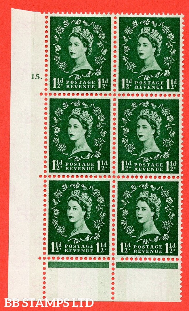 "SG.612. S33. 1½d Green. A fine mounted mint "" cylinder 15 dot "" control block of 6 with perf type C (E/P). Blue Phosphor Cream paper."