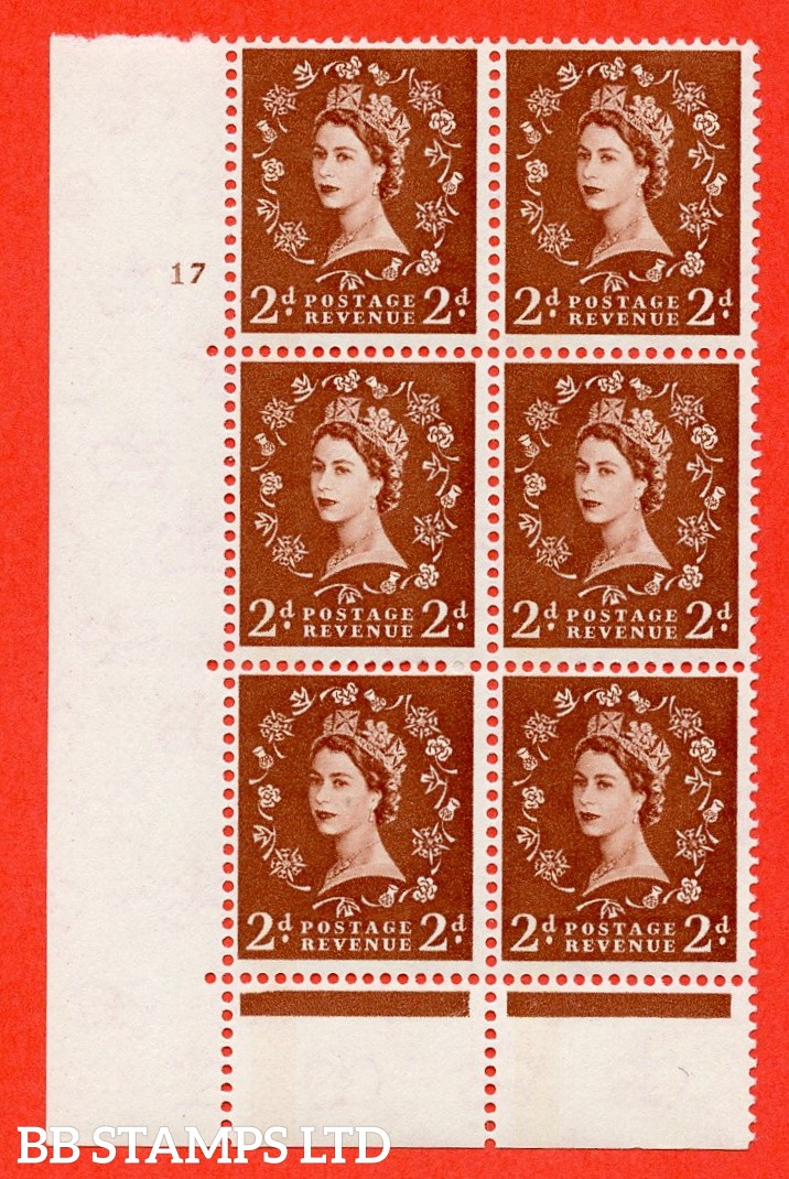 "SG. 613. S44. 2d Light red brown. A fine mounted mint "" cylinder 17 no  dot "" control block of 6 with perf type C (E/P). Green Phosphor."