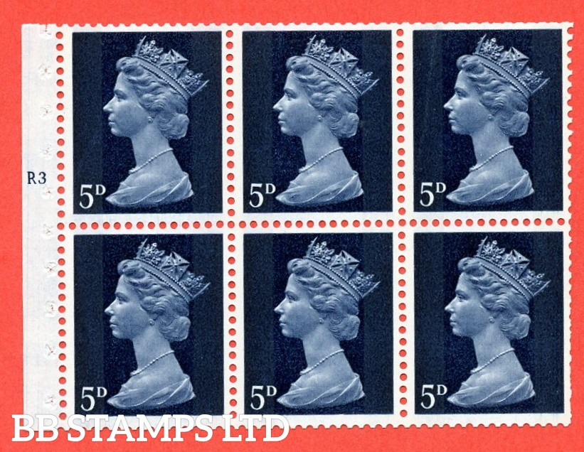 UB19 5d 2 Bands. UNMOUNTED MINT Complete Pre decimal machin Cylinder Pane of 6 R3T No Dot . (UB19) Perf Type IS. Trimmed Perfs.