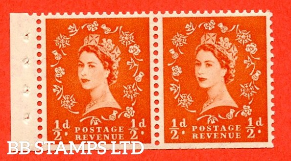 SG. 515. SB3. ½d Orange-Red. A fine UNMOUNTED MINT. Complete booklet pane of 2 with perf type E. Trimmed perfs.
