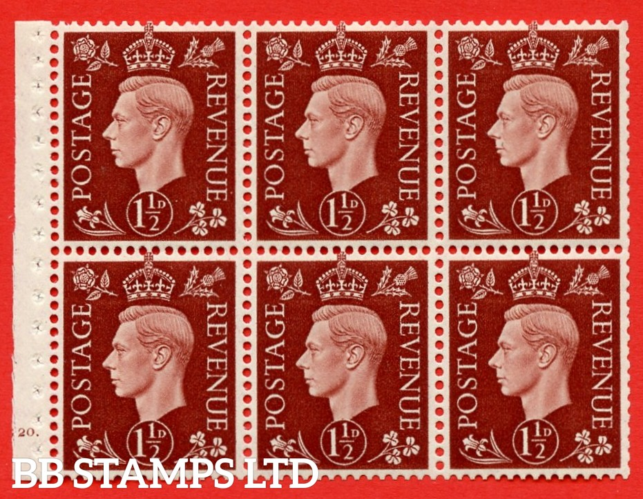 QB21 Perf Type B4A(I) 1½d Red-Brown x 6 Pane, UNMOUNTED MINT Watermark Upright. Cylinder Pane G20 dot ( SG. 464c ) Perf type B4A(I). Good Perfs.