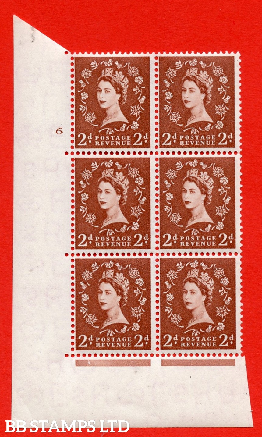 """SG. 543b. S38. 2d. Light Red-brown. A superb UNMOUNTED MINT """" cylinder 6 no dot """" control block of 6 with perf type A E/I."""