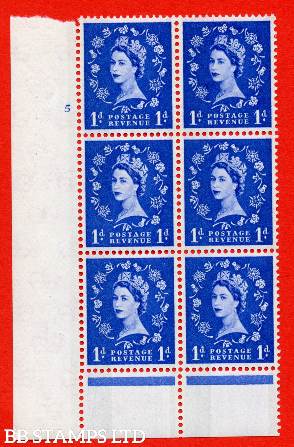 "SG.611. S21. 1d Ultramarine. A superb UNMOUNTED MINT "" cylinder 5 no dot "" control block of 6 with perf type B (I/P). Blue Phosphor Cream paper."
