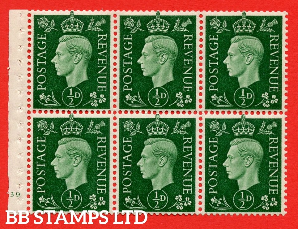 SG. QB1 Perf Type B3(I). ½d Green x 6 Pane, MOUNTED MINT Watermark Upright. Cylinder Pane E39 no dot ( SG. 462b ) Perf Type B3(I). Good Perfs.