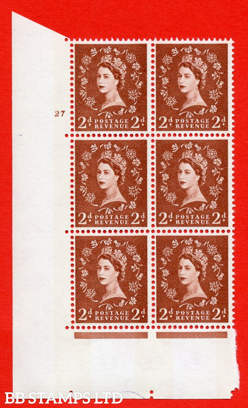 "SG.613a. S49. 2d Light Red Brown. A superb UNMOUNTED MINT "" cylinder 27 no dot "" control block of 6 with perf type A (E/I). violet Phosphor 9½mm Band."