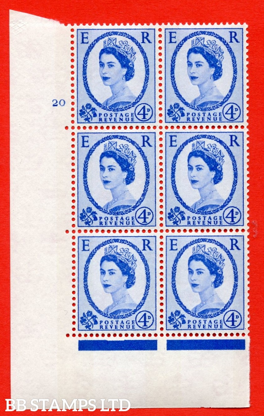 "SG.616a. S91. 4d Deep Ultramarine. A superb UNMOUNTED MINT "" cylinder 20 no dot "" control block of 6 with perf type A (E/I). violet Phosphor 8mm Band."