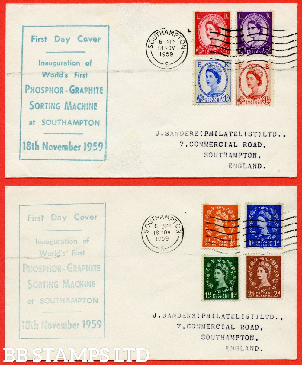 """SG. 599 - 609. 1959 Phosphor Graphite set of 8.  A fine set on two FIRST DAY COVER's cancelled by """" 18th November 1959 SOUTHAMPTON """" CDS."""