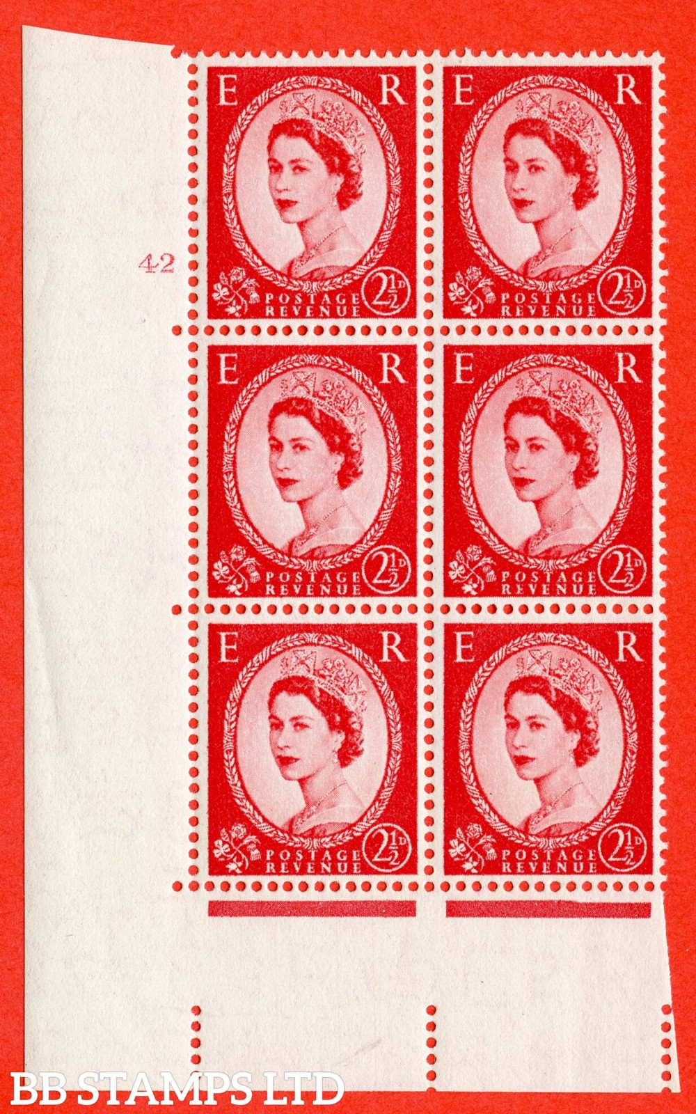 "SG. 544. S52. 2½d. Carmine - Red. A superb UNMOUNTED MINT "" cylinder 42 no dot "" control block of 6 with perf type A E/I."