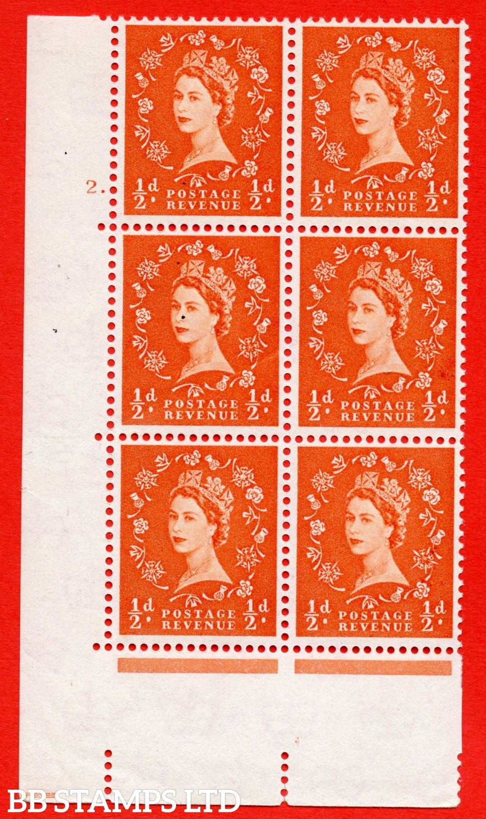 """SG. 570. S4 h. ½d Orange. A superb UNMOUNTED MINT """" cylinder 2 dot """" control block of 6 with perf type A E/I. CREAM paper. With the listed """" Major retouch (cyl. 2 Dot, R19/2) """" variety."""