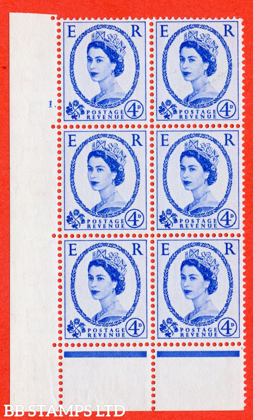 "SG. 546. S82. 4d. Ultramarine. A superb UNMOUNTED MINT "" cylinder 1 dot "" control block of 6 with perf type C I/P."