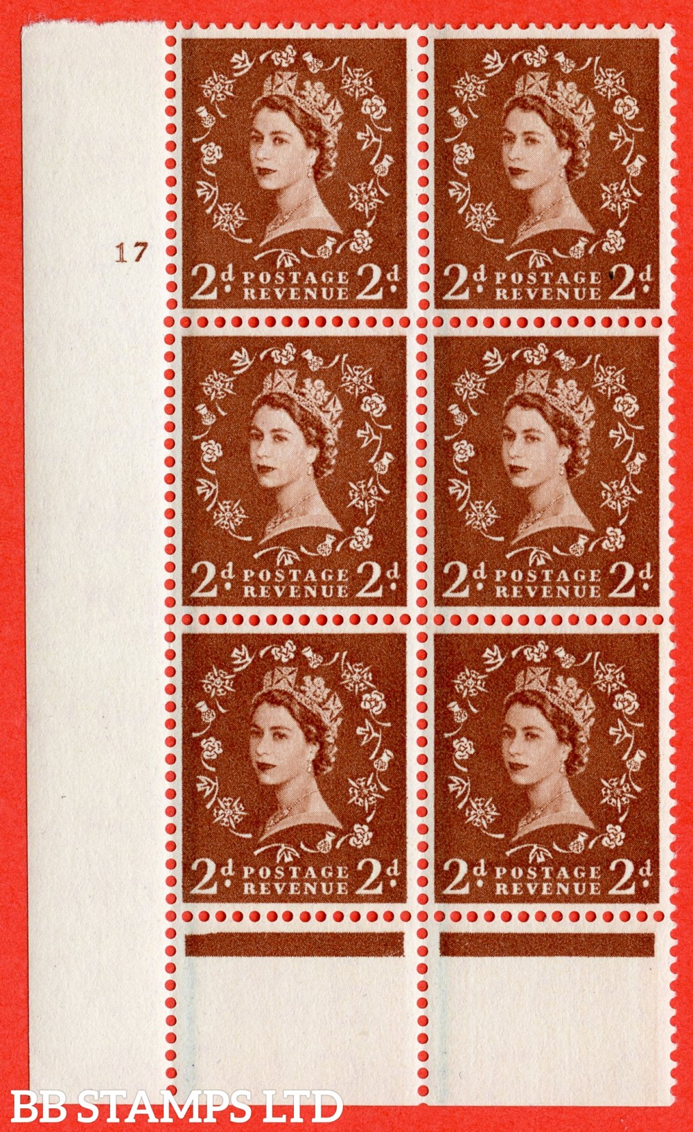"SG. 564. S39. 2d Red - brown. A superb UNMOUNTED MINT "" cylinder 17 no dot "" control block of 6 with perf type B I/P."