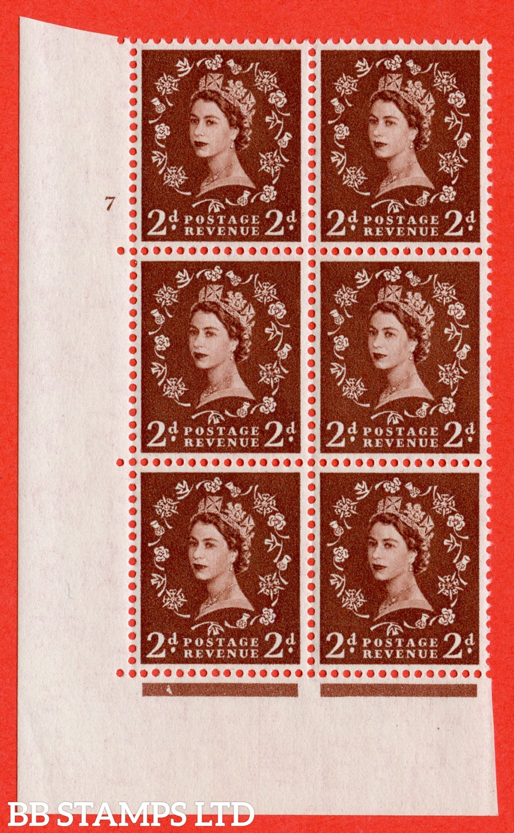 "SG. 543. S37. 2d. Red-brown. A superb UNMOUNTED MINT "" cylinder 7 no dot "" control block of 6 with perf type A E/I."