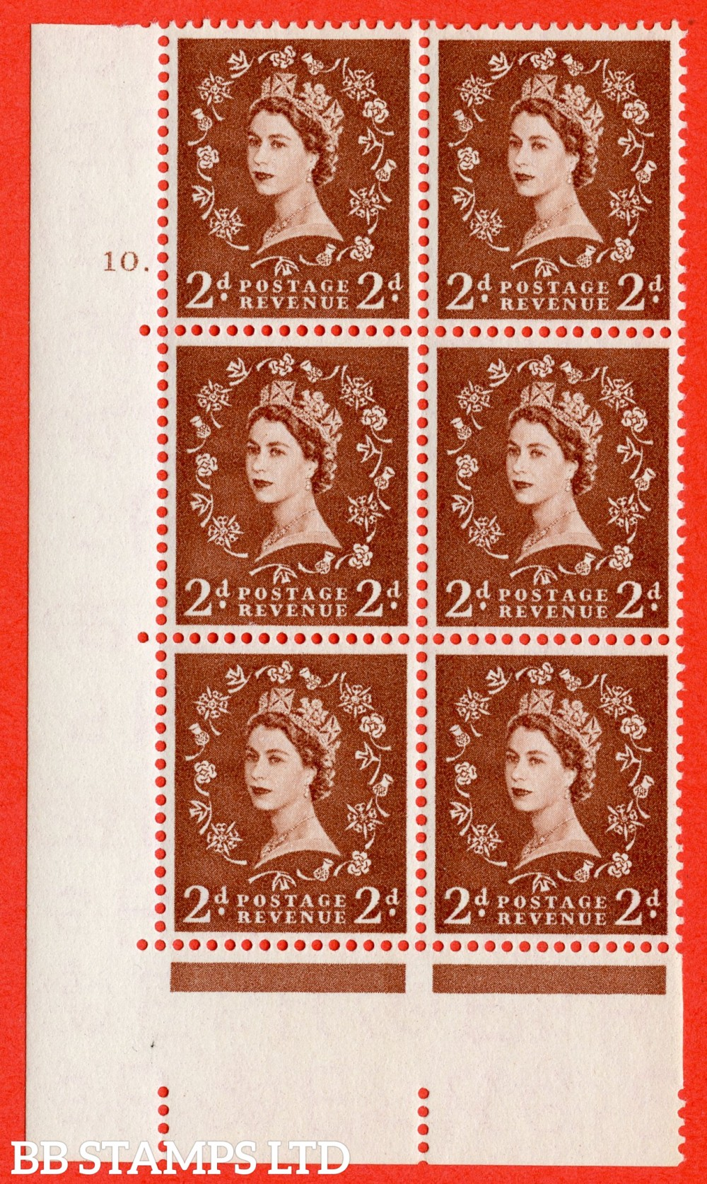 "SG. 543b. S38. 2d. Light Red-brown. A superb UNMOUNTED MINT "" cylinder 10 dot "" control block of 6 with perf type A E/I."