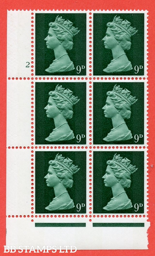 "SG. 740. U22. 9d myrtle green  A superb UNMOUNTED MINT "" cylinder 2 dot "" control block of 6 with perf type FL (P/E). gum arabic. Head A."