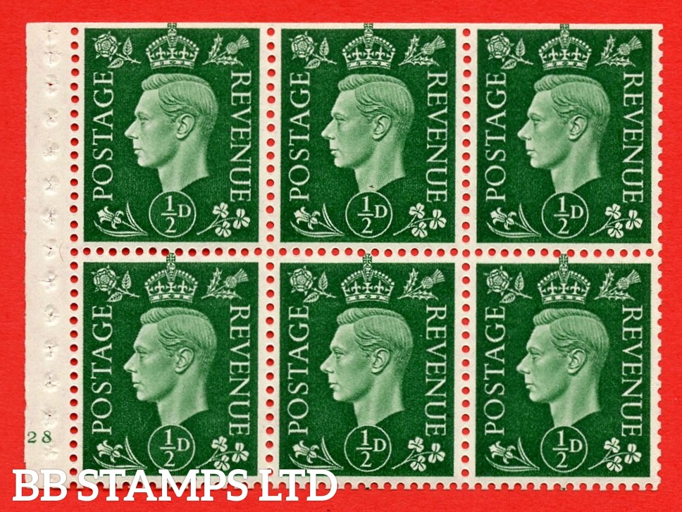 SG. QB1 Perf Type B3(I). ½d Green x 6 Pane, UNMOUNTED MINT Watermark Upright. Cylinder Pane E28 no dot ( SG. 462b ) Perf Type B3(I). Trimmed Perfs.