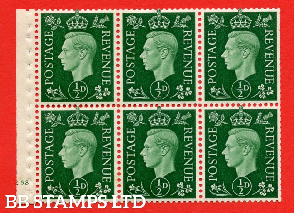 SG. QB1 Perf Type B3(I). ½d Green x 6 Pane, UNMOUNTED MINT Watermark Upright. Cylinder Pane E38 no dot ( SG. 462b ) Perf Type B3(I). Trimmed Perfs.
