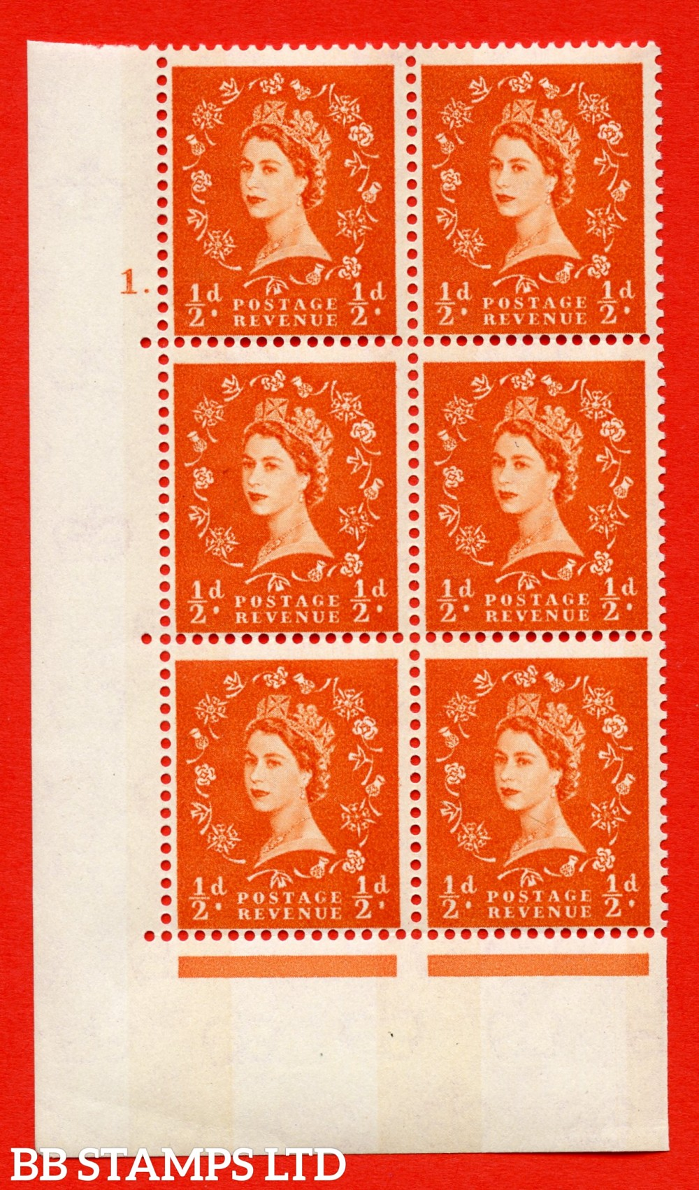 "SG.610. S10. ½d Orange red. A superb UNMOUNTED MINT "" cylinder 1 dot "" control block of 6 with perf type A (E/I). Blue Phosphor Cream paper."