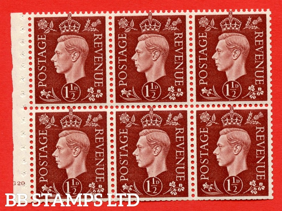 QB21 Perf Type B4(E) 1½d Red-Brown x 6 Pane, MOUNTED MINT Watermark Upright. Cylinder Pane G20 no dot ( SG. 464c ) Perf type B4(E). Trimmed Perfs.