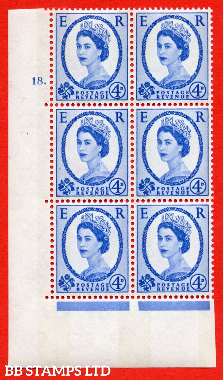 """SG.616a. S91. 4d Deep Ultramarine. A superb UNMOUNTED MINT """" cylinder 18 dot """" control block of 6 with perf type A (E/I). violet Phosphor 8mm Band."""