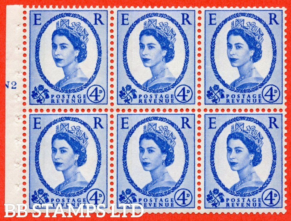 "SG. 616a. SB109. 4d Deep Ultramarine. A fine mounted mint cylinder "" N2 T no dot "" booklet pane of 6. Perf type (I) with TRIMMED PERFS. Smooth edge. White Paper."