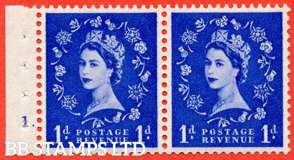 """SG. 541. SB28. 1d Ultramarine. A fine UNMOUNTED MINT cylinder """" 1 dot """" booklet pane. Perf type (E) with GOOD PERFS. Smooth edge."""