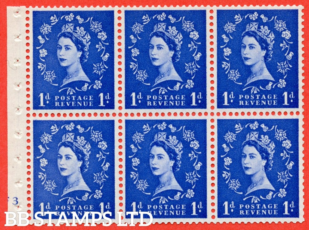 "SG. 571. SB31. 1d Ultramarine. A fine UNMOUNTED MINT cylinder "" F3 no dot "" booklet pane of 6. Perf type (I) with GOOD PERFS. Smooth edge White paper."