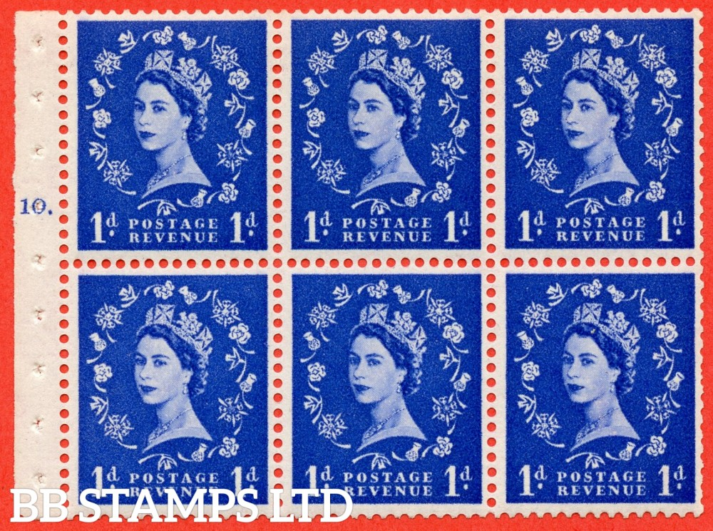 "SG. 571. SB30. 1d Ultramarine. A fine UNMOUNTED MINT cylinder "" F10 T dot "" booklet pane of 6. Perf type (Ieb) with GOOD PERFS. Smooth edge Cream paper."