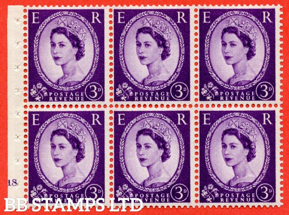 "SG. 615. SB99. 3d Deep Lilac. A fine mounted mint cylinder "" K18 no dot "" booklet pane of 6. Perf type (I) with GOOD PERFS. Smooth edge. Cream Paper."