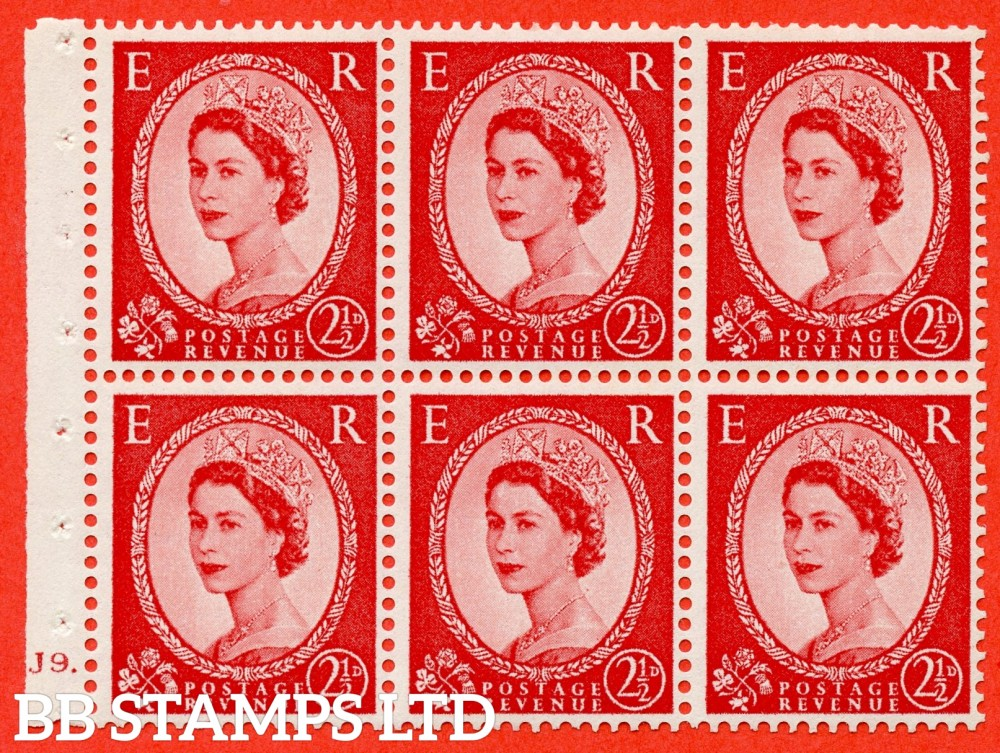 "SG. 544b. SB81. 2½d carmine - red. A fine UNMOUNTED MINT "" J9 dot "" booklet pane of 6. Perf type (Iet) with GOOD PERFS. Smooth edge."
