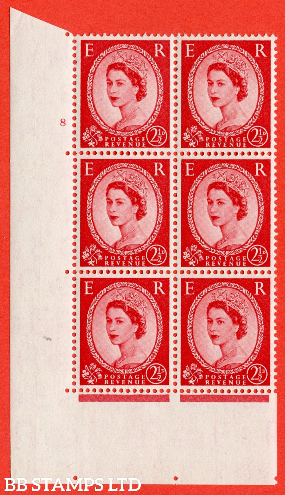 "SG. 519. S50b. 2½d Carmine Red. A superb UNMOUNTED MINT "" cylinder 8 no dot "" control block of 6 with perf type A E/I with the listed variety "" Broken Value Circle Row 20/2 """