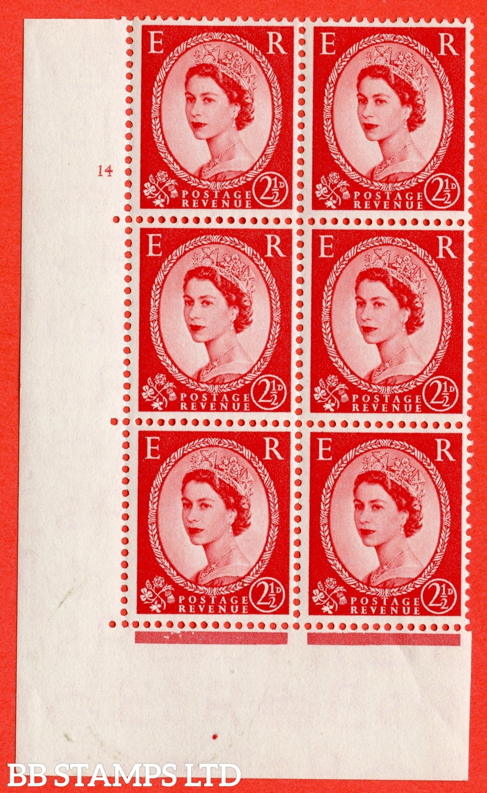 "SG. 519. S50. 2½d Carmine Red. A fine mounted mint "" cylinder 14 no dot "" control block of 6 with perf type A E/I."