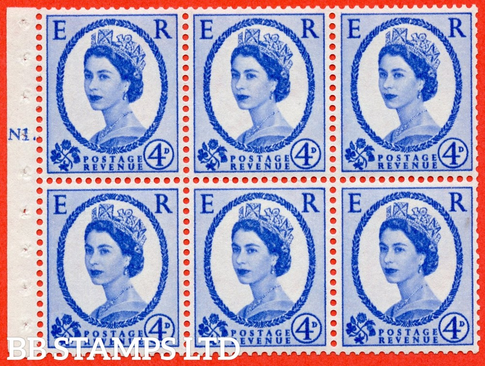"SG. 576a. SB105. 4d Deep Ultramarine. A fine mounted mint cylinder "" N1 T dot "" booklet pane of 6. Perf type (Ieb) with TRIMMED PERFS. Smooth edge. White paper."