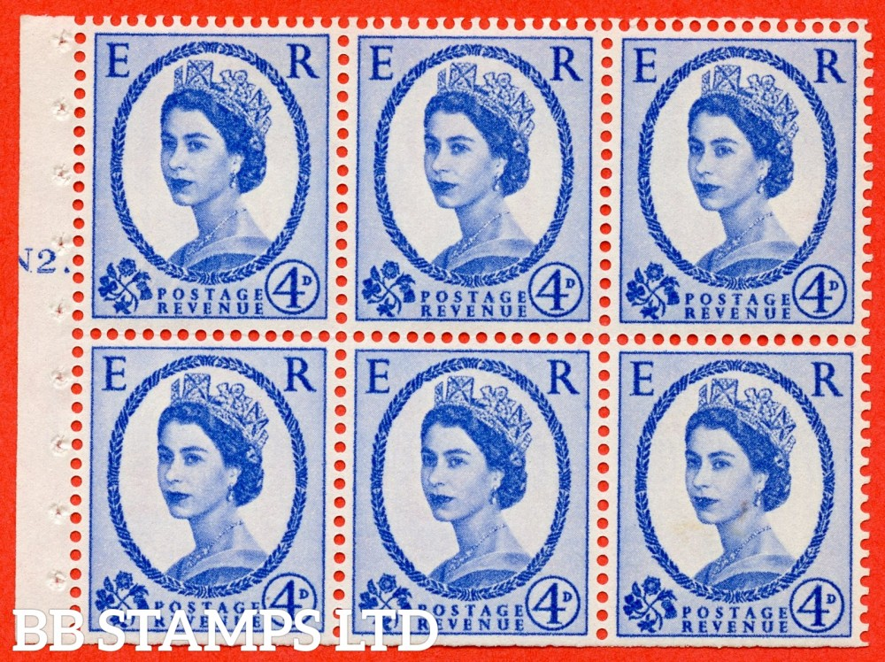"SG. 576a. SB105. 4d Deep Ultramarine. A fine UNMOUNTED MINT cylinder "" N2 T dot "" booklet pane of 6. Perf type (Ieb) with TRIMMED PERFS. Smooth edge. White paper"