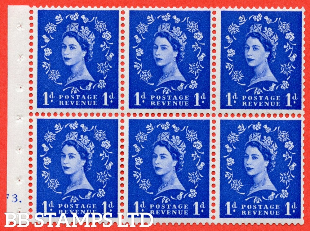"SG. 541. SB26b. 1d ultramarine. A fine mounted mimnt cylinder "" F3 dot "" booklet pane of 6. Perf type (Ieb) with TRIMMED PERFS. Smooth edge. Listed variety "" Dot on Serif ""."