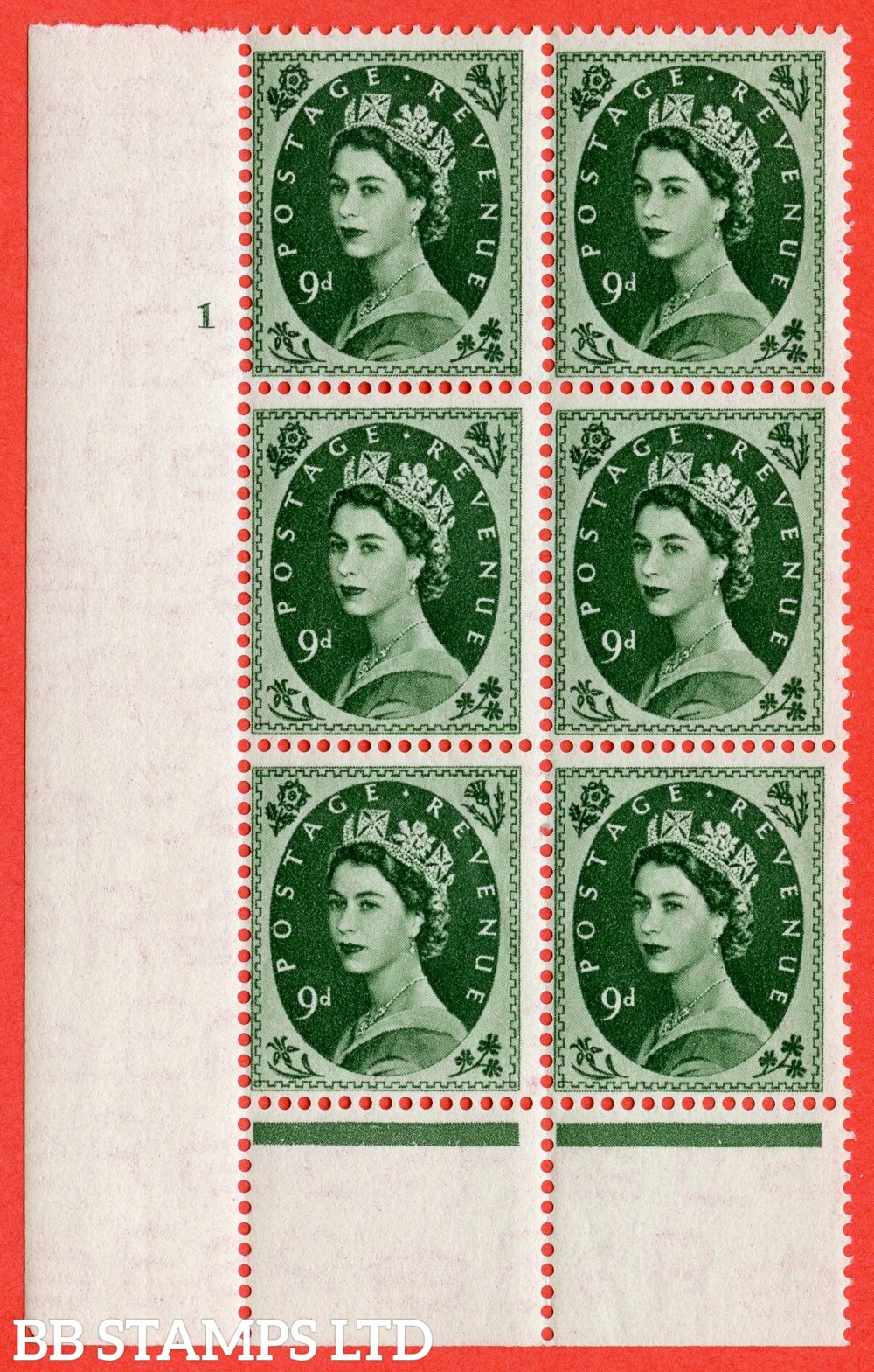 """SG. 526. S124. 9d Bronze-green. A superb UNMOUNTED MINT """" cylinder 1 no dot """" control block of 6 with perf type B I/P."""