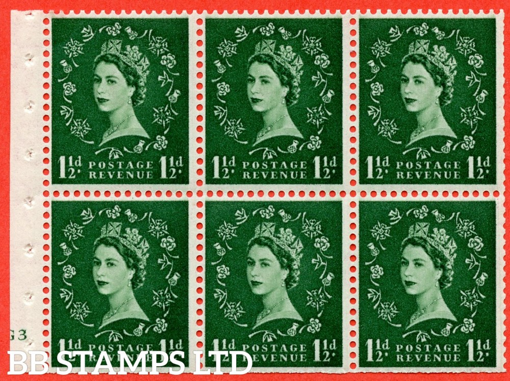 "SG. 517. SB59. 1½d green. A fine mounted mint cylinder "" G3 no dot "" booklet pane of 6. Perf type (I) with TRIMMED PERFS. Smooth edge."