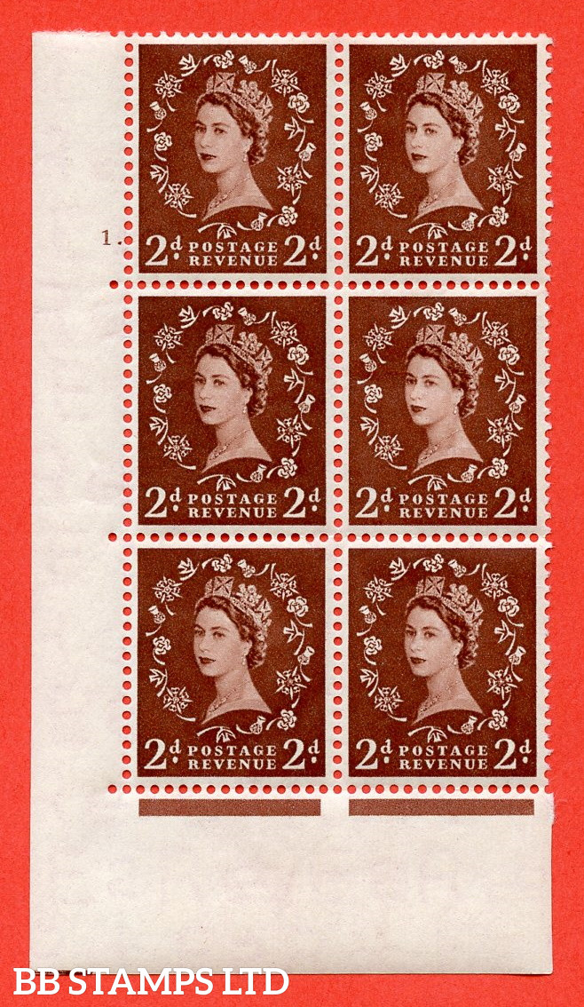 """SG. 518. S36. 2d Red-Brown. A superb UNMOUNTED MINT """" cylinder 1 dot """" control block of 6 with perf type A E/I."""